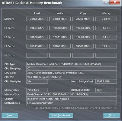 speed differences among different levels of cache