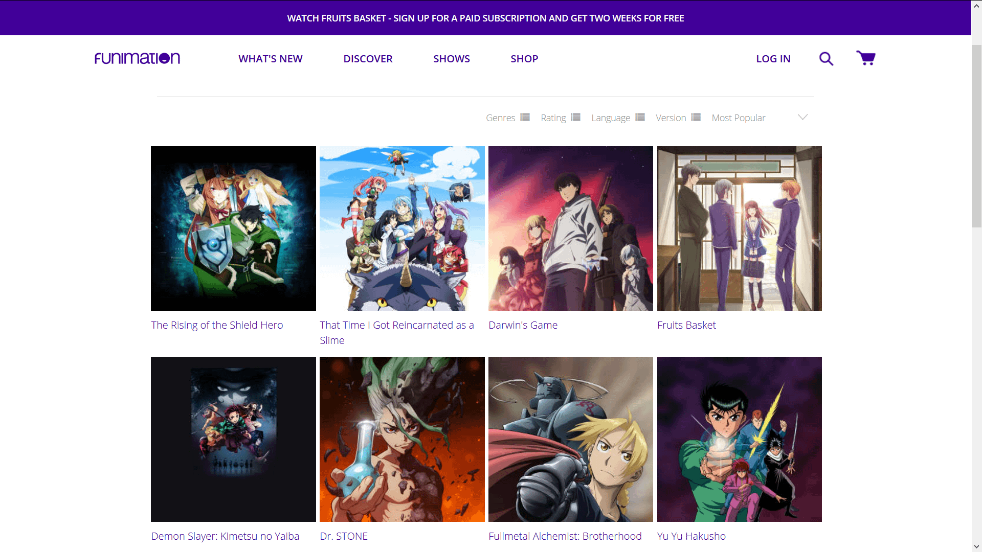 Shows on Funimation